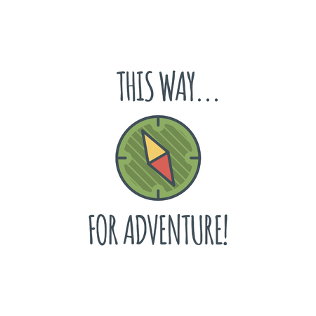 Camping vintage label with compass and typography quote - this way for adventure. logo template. Hiking trail, backpacking symbols in retro flat colors. Nice for prints, tee design, apparel.