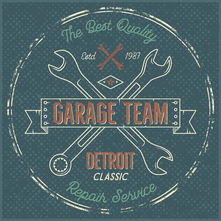 Garage service vintage label, tee design. Detroit classic, repair service typography print. T-shirt stamp, teeshirt graphic, premium retro artwork. Use also as emblem, logo on web projects. .