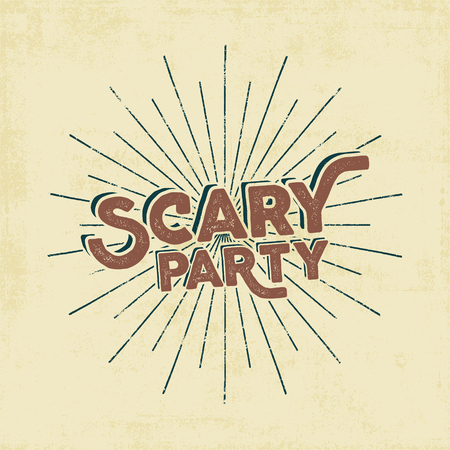 Halloween 2016 scary party typography label template. Old style design. Text with retro grunge effect and sun bursts Stamp for scary holiday celebration. Print on t shirt, tee, other identity.