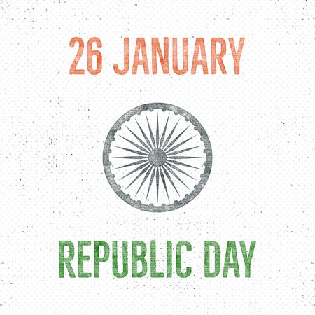 India republic day vintage label template. Retro typography concept. illustration.