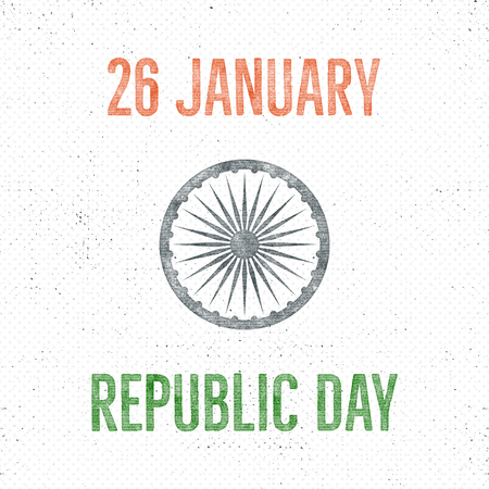 India republic day vintage label template. Retro typography concept. illustration.
