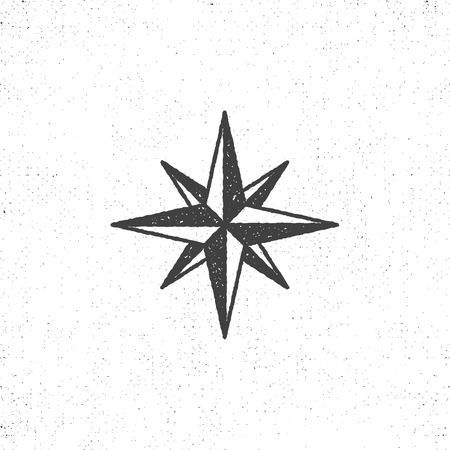 Vintage wind rose symbol or icon in rough silhouette nautical style, monochrome design. Can be used for T-shirts print, labels, badges, stickers, logotypes. illustration