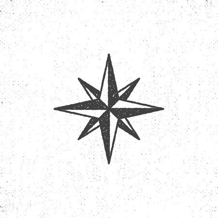 Vintage windroos symbool of pictogram in ruwe silhouet nautische stijl, zwart-wit ontwerp. Kan worden gebruikt voor afdrukken, etiketten, insignes, stickers en logo's van T-shirts. illustratie