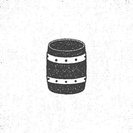 Icona del barilotto retrò. Isolato sul simbolo del barilotto del fondo bianco. Design silhouette vintage. Pittogramma barile. Archivio Fotografico - 85258255