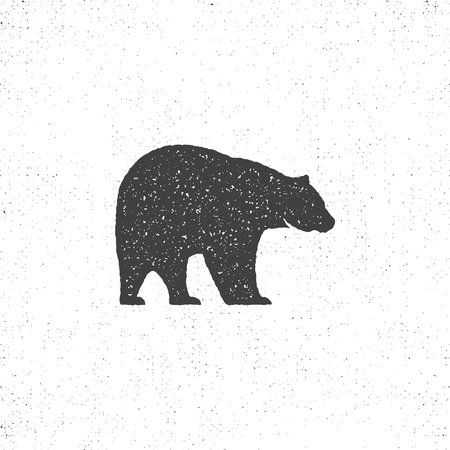 Vintage bear mascot, symbol or icon in rough silhouette style, monochrome design. Can be used for T-shirts print, labels, badges, stickers, logotypes. illustration