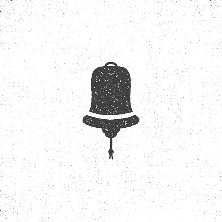 Hand drawn textured ship bell symbol. Nautical icon on roughen style. illustration. Monochrome design, isolated on white background. Stok Fotoğraf