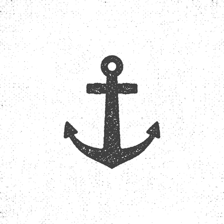 Retro anchor icon. Stock of anchor icon isolated. Roughen anchor icon design. Letterpress style for t shirt, tee designs.