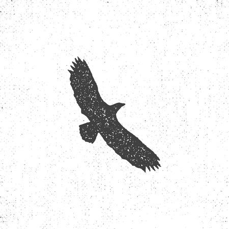 Eagle silhouette symbol. Retro style. Letterpress effect. Eagle icon design. vintage element.