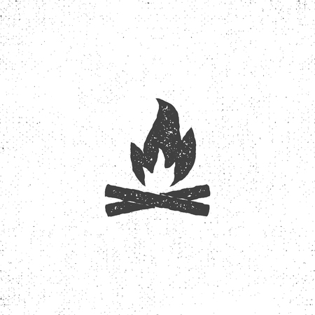 bonfire icon silhouette. Retro letterpress effect. Use for infographics, camping logo and so on. .