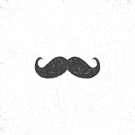 Retro hannd drawn mustache icon. Symbol of mustache in rustic style. mustache isolated. Use on infographics, tee designs, logos, badges etc Stock Photo