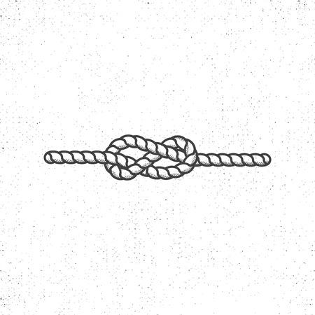빈티지로 첸 스타일에 해상 로프 매듭 기호. 단색 디자인. 흰색 배경에 고립.