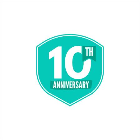 10 周年記念をバッジします。記念日の記号および紋章のイラスト。フラット スタイルのフラット周年エンブレム。簡単に編集および数、テキストを