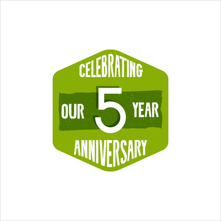 Celebrating 5 year anniversary badge, sign and emblem in retro color style. Easy to edit and use your number, text. illustration isolate on white background.