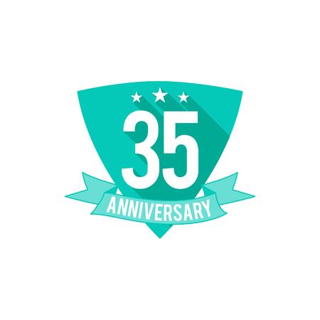 35 年周年記念バッジ、記号および紋章。フラットなデザイン。簡単に編集および数、テキストを使用します。図は、白い背景に分離します。
