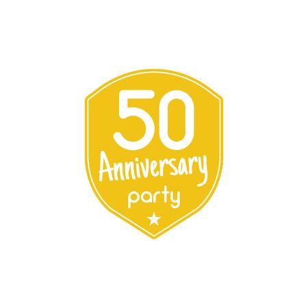50 年周年パーティー バッジ、サイン。フラット スタイルの 50 周年記念パーティーのエンブレム。簡単に編集、テキストを使用します。周年パーテ