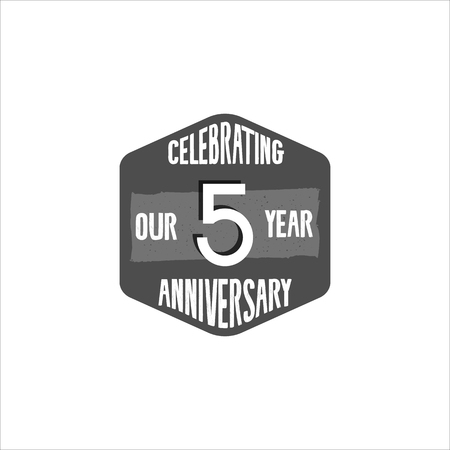 Celebrating 5 year anniversary badge, sign and emblem in retro color style. Easy to edit and use your number, text. illustration isolate on white background. Monochrome. Stock Photo