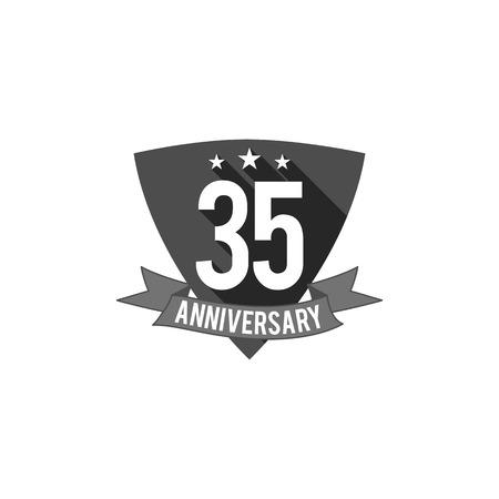 35 年周年記念バッジ、記号および紋章。フラットなデザイン。簡単に編集および数、テキストを使用します。図は、白い背景に分離します。モノク