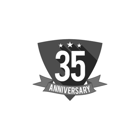 35 years Anniversary badge, sign and emblem. Flat design. Easy to edit and use your number, text. illustration isolate on white background. Monochrome Imagens