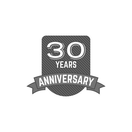 30 años aniversario, signo y emblema con elementos de cinta y tipografía. Diseño plano con sombra. Aislante de la ilustración en el fondo blanco. Foto de archivo - 85238031