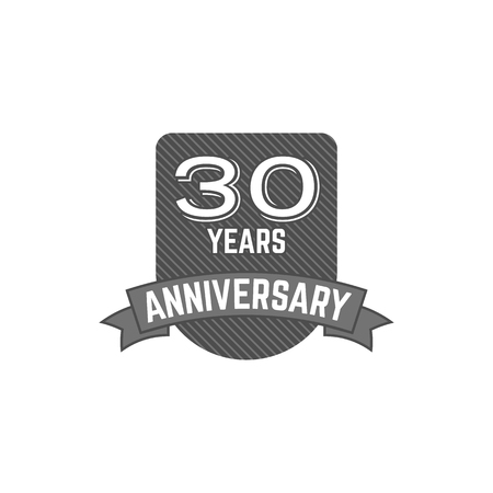 30 years Anniversary badge, sign and emblem with ribbon and typography elements. Flat design with shadow. illustration isolate on white background. Stock Photo