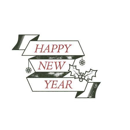 Happy New Year typography wish sign. illustration of Christmas calligraphy label. Use for holiday photo overlays, tee designs, new year card and so on. Unusual line art design.