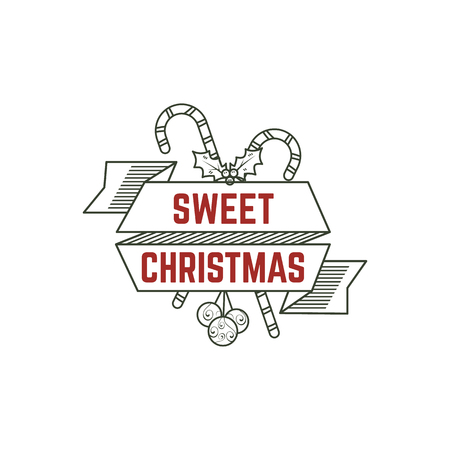 Sweet Christmas typography sign with candies, toys and ribbons. illustration of Christmas calligraphy label. Use for holiday photo overlays, tee designs, new year card and so on
