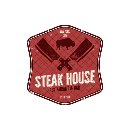 house logo: Steak House vintage Label. Typography letterpress design. steak house retro logo. Included bbq grill symbols for customizing steak house badge.Colorful insignia isolated. Stock Photo
