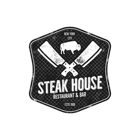 house logo: Steak House vintage Label. Typography letterpress design. steak house retro logo. Included bbq grill symbols for customizing steak house badge. Monochrome insignia isolated. Stock Photo