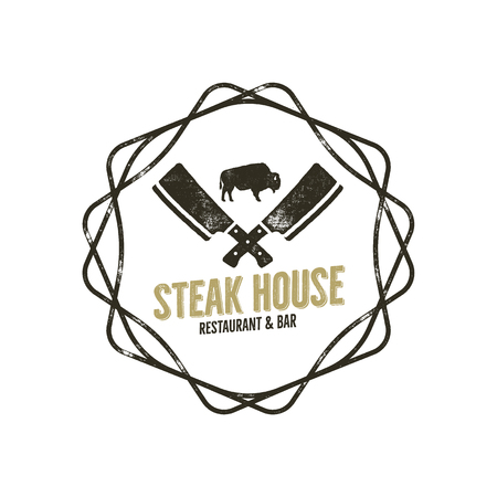 Steak House vintage Label with decoratiove elements. Typography letterpress design. Vector retro logo. Included bbq grill symbols for customizing badge. Black and white insignia.