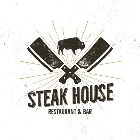 Steak House vintage label. Typografie boekdruk ontwerp. Met zonnestralen, geïsoleerd op wit.