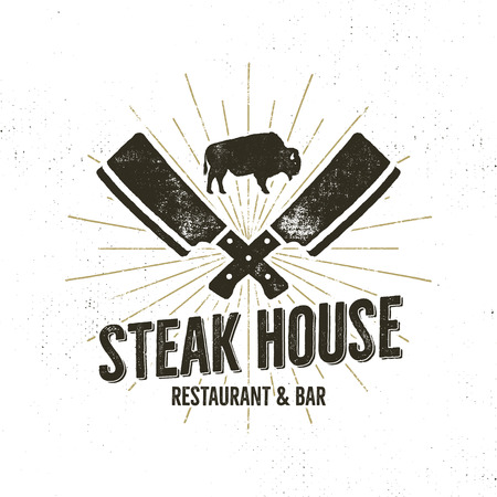 Steak House vintage Label. Typography letterpress design. With sunbursts, isolated on white.