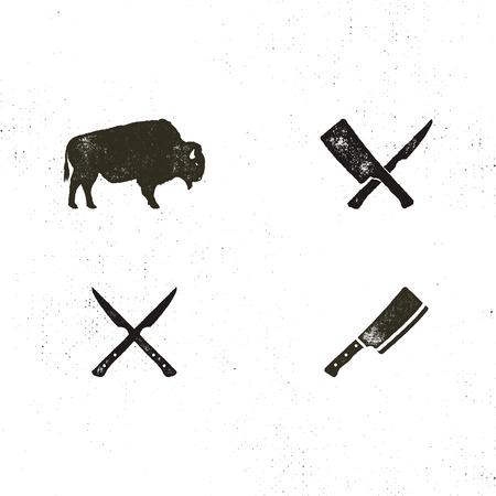 Steak House Jahrgang Label. Typografie-Buchdruck-Design. Steak House Retro-Logo. Eingeschlossene BBQ-Grillsymbole für das Anpassen des Steakhausabzeichens. Schwarz-Weiß-Insignien isoliert Standard-Bild - 85331395
