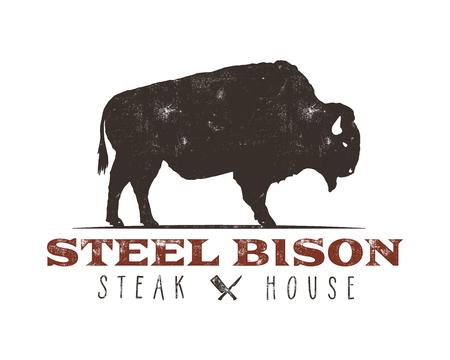 Steak House vintage Label. Steel bison. Typography letterpress design. With sunbursts, isolated on white. Stok Fotoğraf