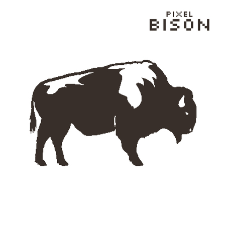 pixel art bison on a white background. Silhouette retro style. Stock Photo