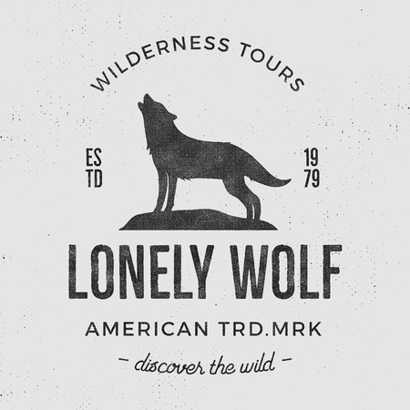 Old wilderness label with wolf and typography elements. Vintage style wolf logo. Prints of howling wolf. Unique design for t-shirts. Hand drawn wolf insignia, rustic design. Letterpress effect.