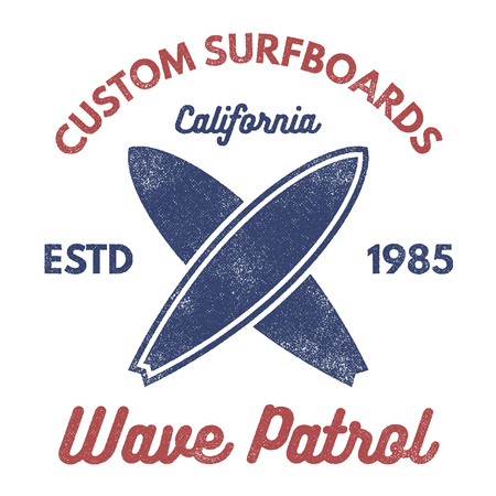 Vintage Surfing tee design. Retro t-shirt Graphics and Emblems for web design or print. Surfer, beach style logo design. Surf Badge Surfboard seal, elements, symbols. Summer boarding on waves. Vecto