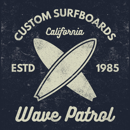 Vintage Surfing tee design. Retro t-shirt Graphics and Emblems for web or print. Surfer, beach style logo . Surf Badge Surfboard seal, elements, symbols. Summer boarding on waves. design. Stock Photo