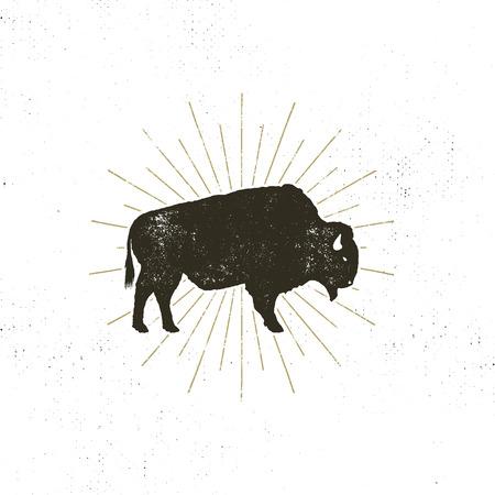 Ikona sylwetka żubra. Efekt retro typografii. Symbol Buffalo z sunbursts na białym tle.