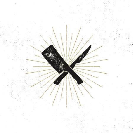 肉切り包丁とナイフのシンボル。ビンテージのステーキハウスのシンボル。輝かしくベクター デザイン活版効果。