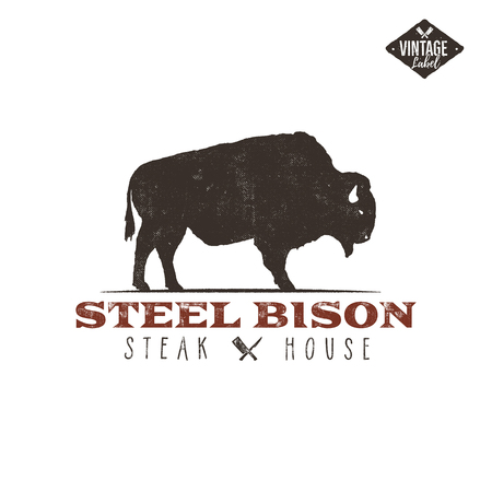Steak House vintage Label, Typography letterpress design, Includes bbq grill symbols for customizing badge.