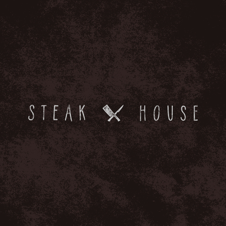 Steak House vintage Label. Typography letterpress design. White steak house insignia isolated.
