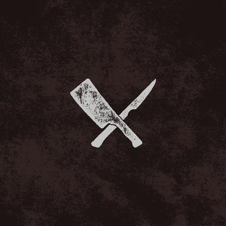 肉包丁とナイフのシンボル。ヴィンテージステーキハウスシンボル。Sunbursts による凸版効果。古いスタイルのデザインは、レトロな背景に分離しま 写真素材