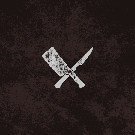 meat cleaver and knife symbols. Vintage steak house symbol. Letterpress effect with sunbursts. Old style design isolate on retro background.