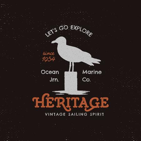Vintage hand-drawn label design. Seagull symbol, letterpress effect in retro old style artwork vector illustration