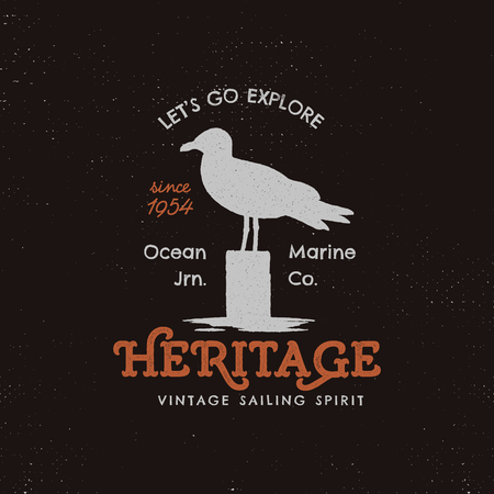 Vintage hand-drawn label design. Seagull symbol, letterpress effect in retro old style artwork vector illustration