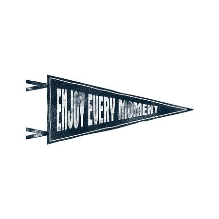 手には、動機付けペナント旗が描かれました。「すべての瞬間を楽しむ」感動的なタイポグラフィ要素を持つイラストです。T シャツ、パッチ、マグ 写真素材