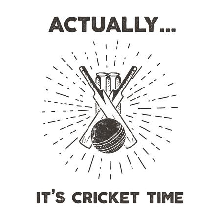 Retro cricket club emblem design. Cricketing  icon design. Crickets badge. Sports symbols with cricketer gear, equipment. Retro letterpress effect