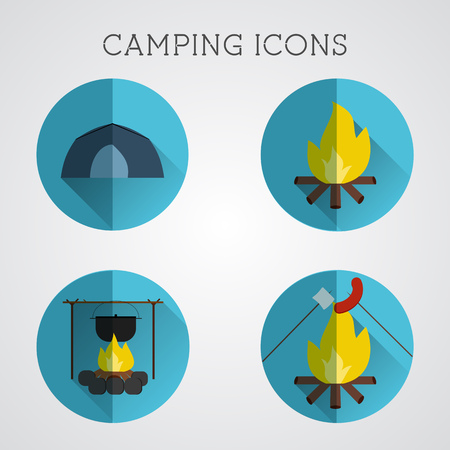 Set of camping symbols and icons. Flat design on blue buttons background. Summer vacation 2015 logo. Vector Banco de Imagens - 85203576