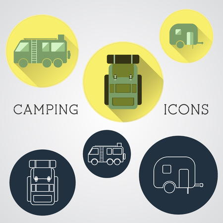 Set of outdoor adventure icons, badges and campsite logo emblems. Summer 2015 stickers. Vector Illustration