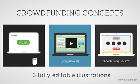 Vector crowdfunding concepts set. Online fund the project. Network donation. Sponsor using the internet. Flat design on colored background. Vector